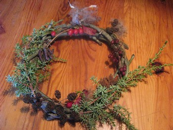 couronne, noel, plantes, sauvages